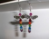 Rainbow Dragonfly Earrings with Pewter Wings