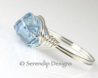 Sterling Silver Aquamarine Crystal Cube Ring Custom Argentium Silver Ring