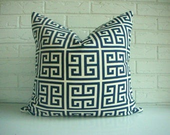 CLEARANCE Navy Greek Key Decorative Pillow Cover -  Nautical Throw PIllow - Modern Classic - Hollywood Regency - Blue Ivory