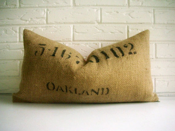 Black Stenciled Burlap Pillow with Red Ticking - Burlap Cushion Rustic - Number Pillow
