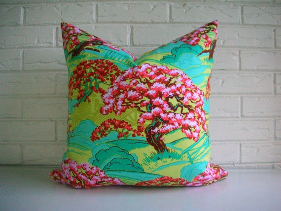 SALE Colorful Boho Pillow Cover - Amy Butler Cameo - Red Aqua Pink Rust Lavender - Bright Girls Room - Nursery Decor