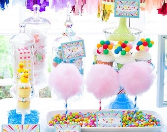 """Carnival Party Favor Tags 2""""x 2"""" by Cutie Putti Paperie"""