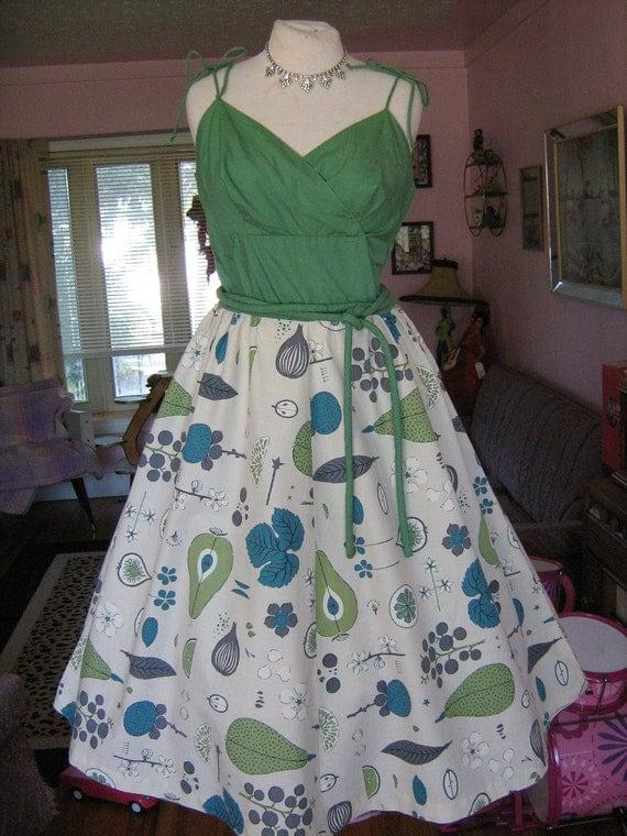 RESERVED 1950s ATOMIC FRUiT Dress Shelf Bullet Bust Full Skirt Novelty Fruit and Veggies Amazing Unique Sundress  VLV