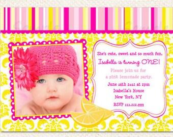 Pink Lemonade Birthday Invitations