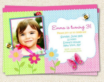 Butterfly Garden Birthday Invitation