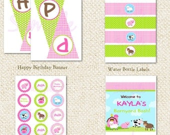 Barnyard Farm - DIY Printable Personalized Birthday Party Package Party Pack