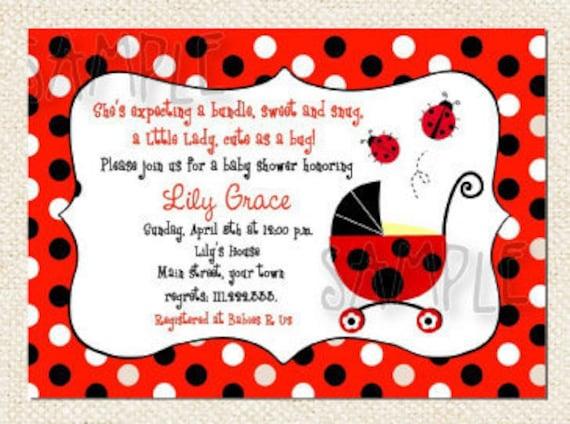 items similar to ladybug baby shower invitations on etsy