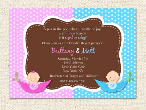 Items similar to Gender Reveal Party Baby Shower Invitations on Etsy