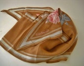 Vintage Cacharel Tan Floral Scarf