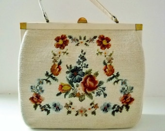 Vintage Cream with Floral Needlepoint Frame Bag with Leather Trim