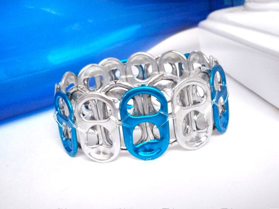 Pop Tab Bracelet - Blue and Silver - for teens and adults - school/team spirit bracelet - upcycled/recycled jewelry - gifts under 10 dollars