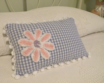 Children's Accent Pillow with Vintage Appeal in Pink and White Chenille Flower in Blue Check - Cottage Shabby Chic