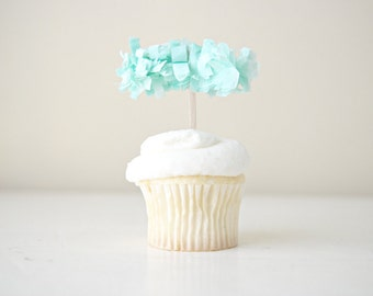 Fringe Cupcake Topper Collection (one dozen, color of your choice)