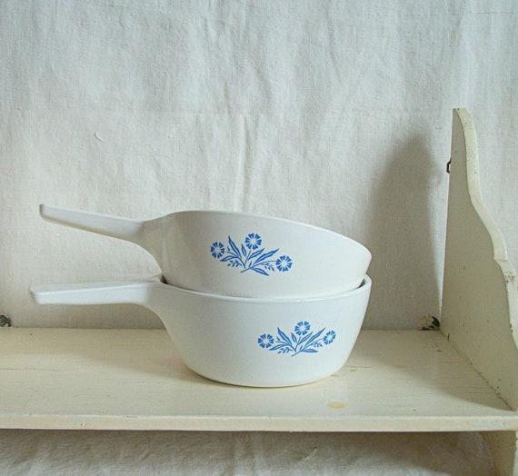 Vintage Blue Cornflower Corning Ware Sauce Pans