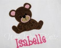 Girls Teddy Bear T Shirt Personalized Applique Picnic Ruffled Tee