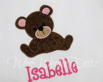 Girls Teddy Bear T Shirt Personalized Applique Picnic Ruffled Tee