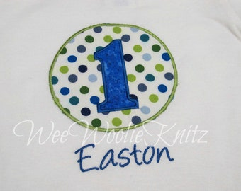 Boys Birthday T Shirt Personalized Applique 1st 2nd 3rd 4th Polka Dot Circle