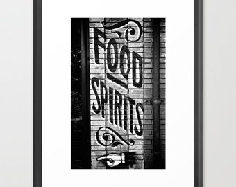 Bar Room Decor, Modern Farmhouse Wall Decor, Cottage Chic Wall Decor, Food and Spirits Sign, Black and White Photography, Ghost Sign Art