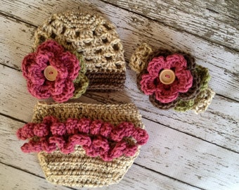 The Sophia Beanie, Headband & Diaper Cover Set in Oatmeal, Pink Rose and Taupe Available in Newborn to 24 Months- MADE TO ORDER