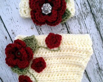 The Ava Flower Headband in Cranberry, Ecru and Olive Green with Matching Diaper Cover Available in Newborn to 24 Months Size- MADE TO ORDER