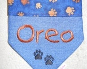 Personalized Dog Bandana - Blue w/brown paws