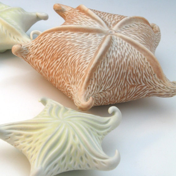 Peach and white carved porcelain starfish, large