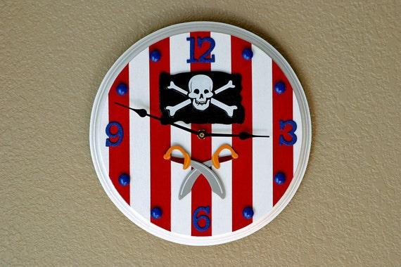 Pirate Wall Clock, Children's Wall Clock, Pirate Clock, Wall Clock, Children's Wall Decor, Kids Clock, Pirate Flag Clock, Skull Clock