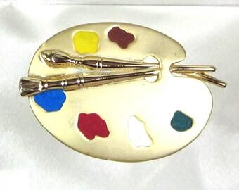 Vintage Paint Pallet Brooch, Oil Paint Pallet, Signed AJC