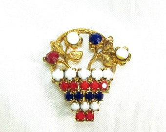 Patriotic Milk Glass Basket of Flowers Brooch Pin, Red White and Blue, Vote on Election Day