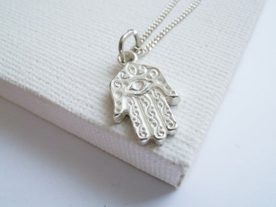 Hamsa Sterling Silver Necklace Hand Of Fatima By FoxInTheBox