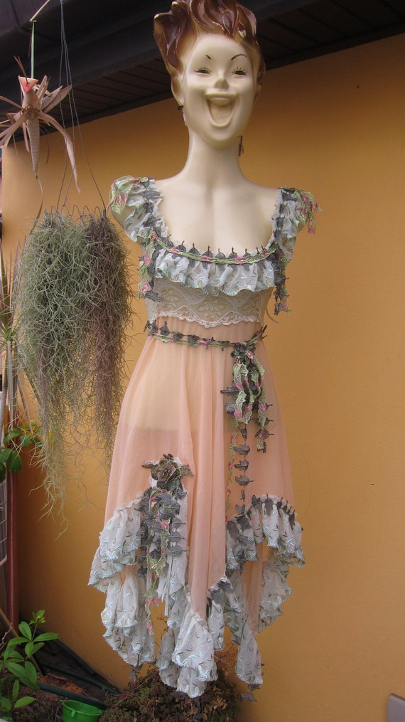 RESERVED..vintage inspired  foresty fairy pixie hem chiffon top/dress.....