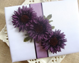 Wedding Guest Book - Eggplant Chrysanthemum On White Satin