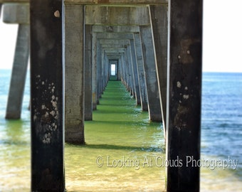 Under the Pier, unique ocean art photo, perspective, beach view, peaceful zen horizon