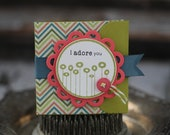 I Adore You - Lunchbox note - green, blue, and salmon