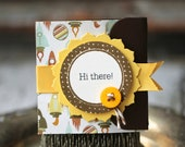 Hi There - Lunchbox note - Spaceships with brown with yellow ribbon