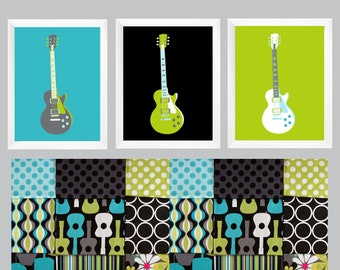 Lagoon Groovy Guitars Wall Art in light aqua blue, teal,  grey, lime green, black and white 3 pc set 11x14 by Yassisplace.etsy.com