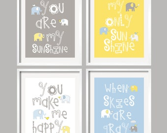 Nursery Quad Blue and Grey Nursery Elephant Nursery Art Set of 4 prints Baby Blue Gray Yellow Nursery Decor Choose your colors 059