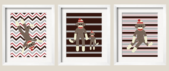 Sock Monkey Art, Nursery Decor for Kids, Perfect for Nursery, Playroom or toddler room. 8x10wall art