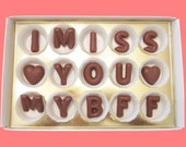 I Miss You My BFF Large Milk Chocolate Letters Long Distance Greeting Cute Creative Gift for My Best Friend Men Women Him Her Made to Order