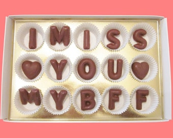 Long Distance Friendship Gift Best Friend Gift for BFF Him Her Birthday Holiday Greeting Fun I Miss You My BFF Large Milk Chocolate Letter