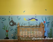 Children Wall Decals -Underwater Theme with Ray, Submarine, Seaweed and Fish - PLUW010R