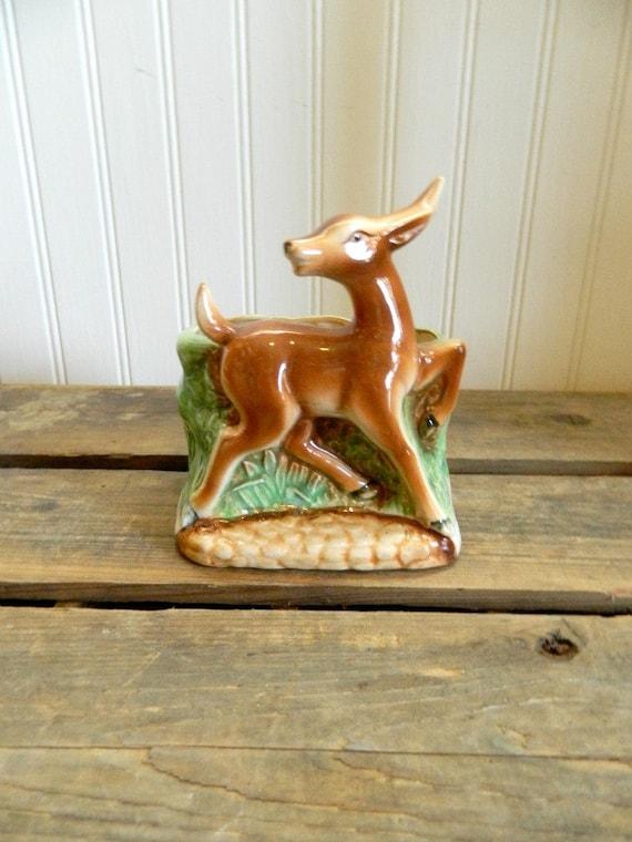 Vintage Deer Planter Ceramic Woodland Home Decor