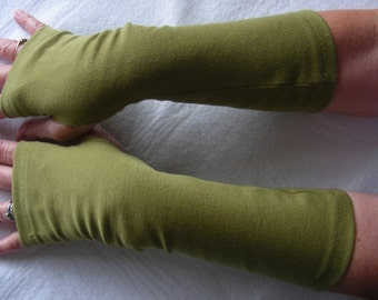 Olive Green Jersey Fingerless Gloves, Jersey Arm Warmers, Mitts, Texting Gloves, Driving Gloves, Cycling Glove, Hand Warmers, Biking Glove