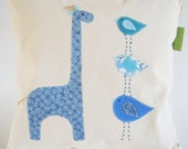 Organic Cotton Blue Giraffe With Birds/ Taller The Better/ Children's Pillow Cover/ Made To Order