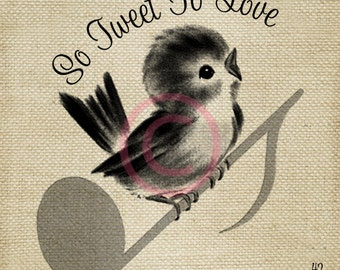 So Sweet to love LARGE Digital Vintage Image Download Sheet Transfer To Totes Pillows Tea Towels T-Shirts
