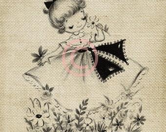 Adorable Vintage Girl LARGE Digital Vintage Image Download Sheet Transfer To Totes Pillows Tea Towels T-Shirts
