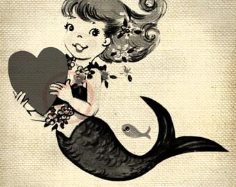 Beautiful Retro Vintage Mermaid LARGE Digital Vintage Image Download Sheet Transfer To Totes Pillows Tea Towels T-Shirts