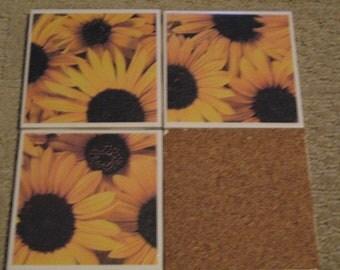 Set of 4-Tile Coasters Sunflower
