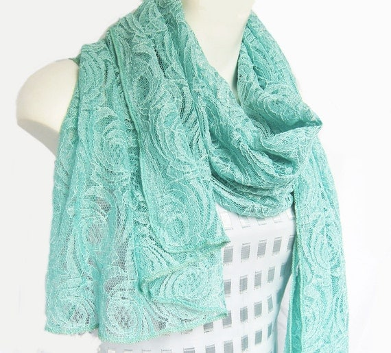 Mint Green Lace Scarf... Sale ... Last one