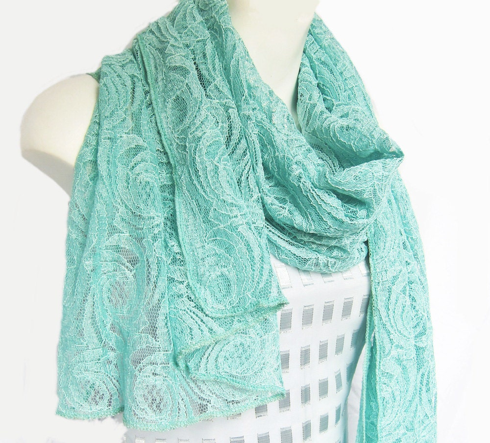 mint green lace scarf sale last one